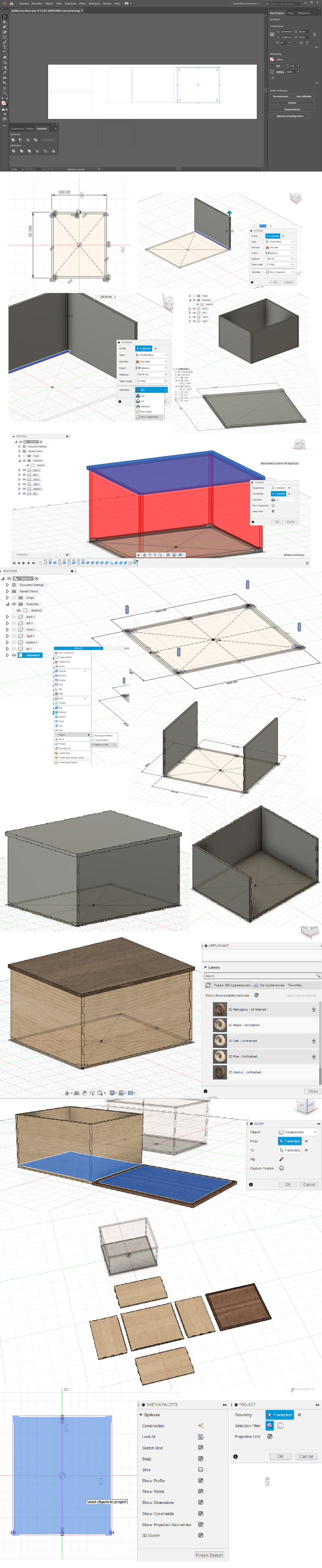 Process of using Fusion360 to create a model of a box